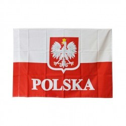 Flaga Polska z godłem